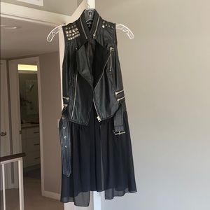 Leather vest with sheer black long trim